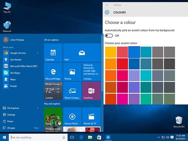 Windows 10 Start Menu Color Change