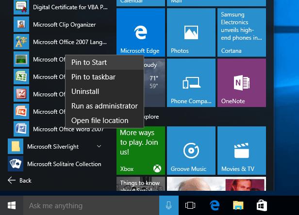Windows 10 Start Menu live tile